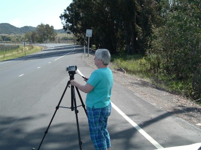 Val Hammersley taking b-roll video of Rick's Walk.