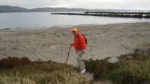 Rick Hammersley starting his walk in Bodega Bay, CA.