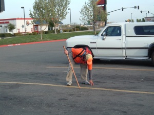 Rick stopping to pick up some roadside change.