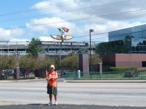 Rick Hammersley in front of Indianapolis Motor Speedway