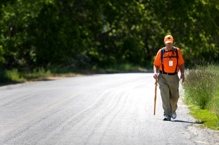 Rick Hammersley walks along Riverbottom Road in Spanish Fork during his walk across America Tuesday, May 27, 2008. Photo Courtesy of MARK JOHNSTON/Daily Herald.
