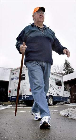 Rick Hammersley & His Trusty Walking Stick. Photo Courtesy of the Indianapolis Star.