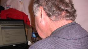 Rick Hammersley Blogging after Walking 19 Miles.