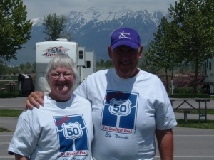 Rick & Val Hammersley Posing for a Picture Wearing Hwy 50 Shirts