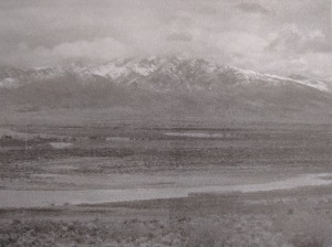 Grainy photo of Utah Mountains after the Rainstorm.