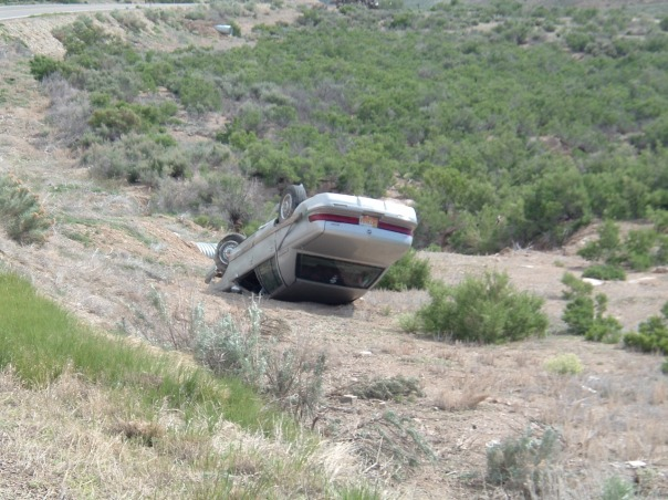 Overturned Car in Utah