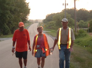 Rick Hammersley walking in Iowa with cousin Jim & Debbie Barnard