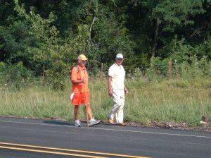 Rick and Ron Hammersley Walking Iowa