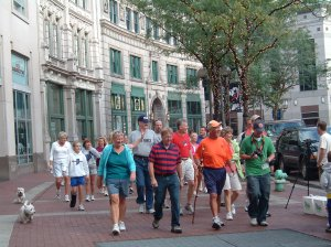 Rick Hammersley Walks Monument Circle in Indianapolis